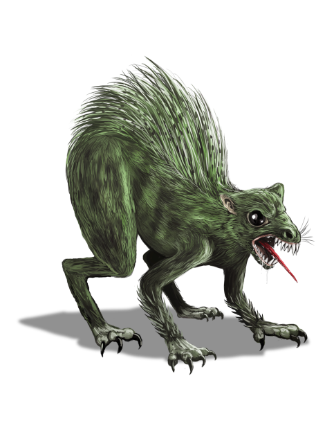 A rodent-like Chupacabra against a transparent background