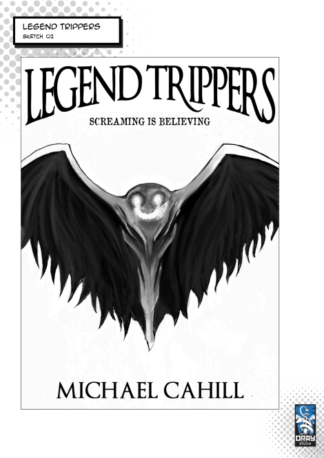 A sketch of a winged creature for the Legend Trippers cover