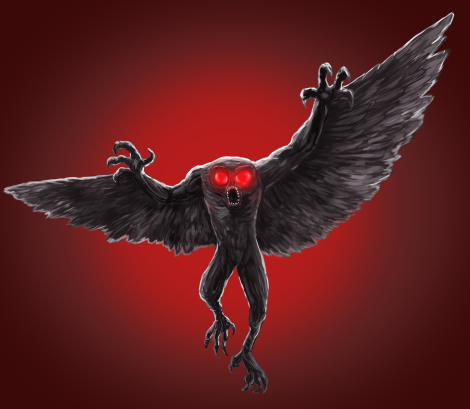 A winged, glowing-eyed Owlman from Michael Cahill's Legend Trippers from
