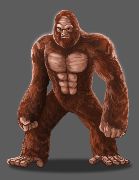Concept art for Brutus, the mighty patriarch of a heroic Sasquatch clan.