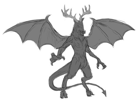Concept Art for the Jersey Devil, a clooven-hoofed beast appearing in Michael Cahill's novel Legend TrIippers