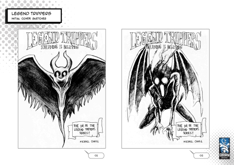Two early sketches for Legend Trippers: Screaming is Believing. They each show a winged, slightly demonic creature.