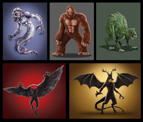 Five of the most famous monsters from cryptozoology. Sasquatch. Chupacabra. Owlman. Mercreature. Jersey Devil.