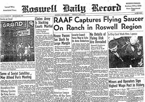 Headline announcing the Roswell UFO crash