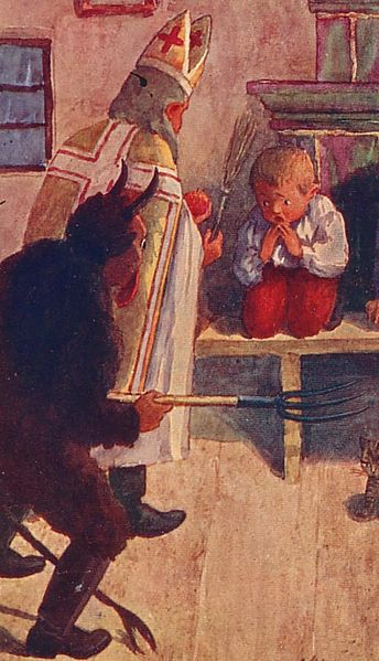 A study in duality: a child is confronted by Saint Nicholas and his evil counterpart, the Krampus. How different would Christmas be today if we still included this freakish creature?