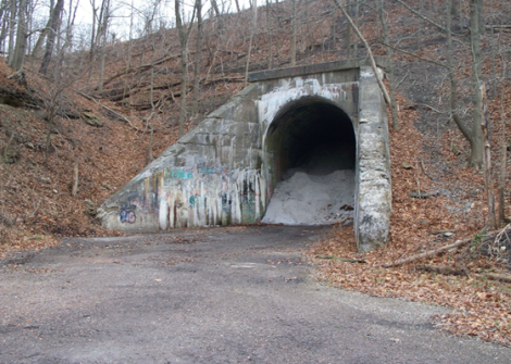 "The abandoned tunnel where the faceless ""Green Man"" supposedly lurks. Image Credit: http://altereddimensions.net/2013/raymond-robinson-true-story-charlie-no-face-green-man"